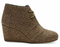 TOMS Womens Cheetah Suede Desert Wedge Shoes Size US 12 Free S/H