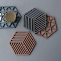 6 Pcs Set Silicone Coasters Mat Placemat Non-slip Kitchen Table Multi-Colours