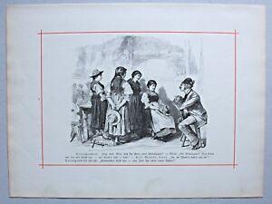 Journalist, Zeitung, Humoreske, Karikatur. Stich nach E. Harburger 1884