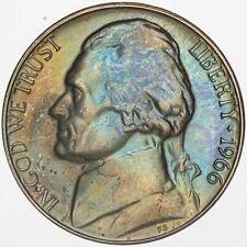 1966-P USA JEFFERSON NICKEL PROOF UNC GEM TONED CHOICE BU COLOR #19 (DR)