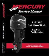 Mercury 3 Liter Work / 225 EFI / 250 EFI  3.0L Outboard Motors Service Manual CD