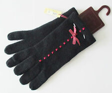 NEW Dents Ladies Lambswool Angora Mix Gloves Black with Pink Ribbon One Size