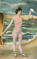 Artist Impression Bathing Suit woman Striped beach Scene C-1910 Postcard 1239