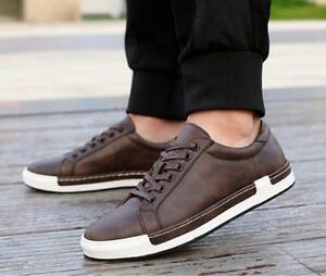 New Mens Lace Up Tennis Board Shoes Solid Casual Shoes Comfort Loafers Size