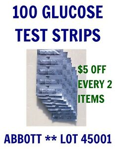 100 Abbott Blood GLUCOSE Test Strips for PRECISION XTRA & other meters- 2021 OCT