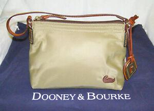 DOONEY & BOURKE NYLON FABRIC SMALL HAND BAG - KHAKI-BEIGE COLOR,EMBROIDERED LOGO