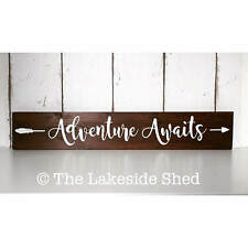 Adventure Awaits One Pallet Sign Freestanding Chunky Wooden Plaque Sign Nursery