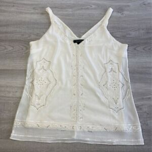 White House Black Market Womens Tank Top Ivory Floral Embroidered Stretch S