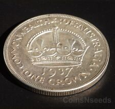 1937 One Crown Coin Australian Silver Pre Decimal King George VI Five Shillings