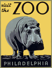 """Vintage Illustrated Zoo Poster CANVAS PRINT ~ Hippo 24""""x16"""""""