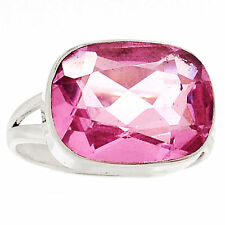 12ct Rosa Facetado Kunzita 925 Sterling Silver Ring Joyería Size UK T US 9.5