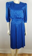 "Argenti petites blue checked printed polyester 3/4"" sleeve pleated dress size 4"