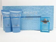 Versace Man Eau Fraiche Mini Set: .17 oz EDT, .8 oz After Shave, Shower Gel New