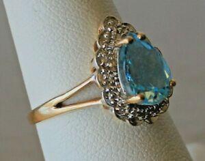 Natural 1.3 ct Aquamarine w/ .05 cttw Diamond 10k Solid Yellow Gold Ring ~Sz 6.5