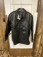 BGSD Men's Samuel New Zealand Lambskin Leather Car Coat  Black Sz L