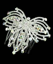 Diamante hair comb butterfly aurora boraelis rainbow sparkly prom bridal 045
