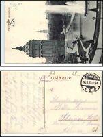 Feldpost AK Stempel MANNHEIM 1915 Springbrunnen Partie am Wasserturm