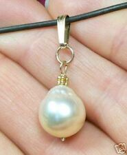 RARE  11mm WHITE AUSTRALIAN SOUTH SEA PEARL 14K PENDANT