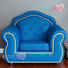 Deluxe FRENCH PROVINCIAL PVC Leather KIDS BOYS Sofa LOUNGE ARM CHAIR AQUA BLUE