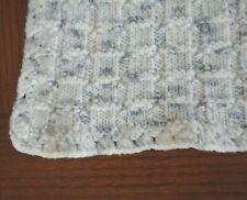 Crochet Knit Handmade Blanket Afghan Throw Baby Crib Lap White Gray Square