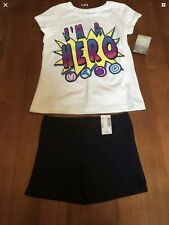 Girls Outfit Disney I'm a Hero Top w/ Children Place Black Shorts Size Xs Nwt