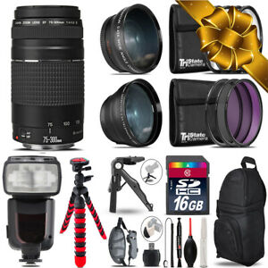 Canon EF 75-300 III - 3 Lens Kit + Professional Flash - 16GB Holiday Gift Bundle