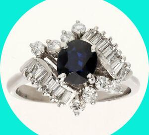 1.10CT H VS diamond sapphire cocktail ring 14K WG oval birthstone sz 5.25