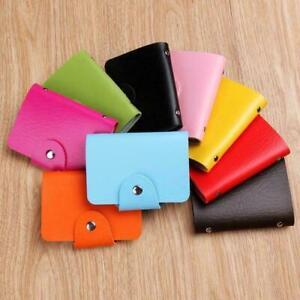 Candy Color PU Leather Wallet ID Credit Card Holder Box Pocket Slot Business Bag