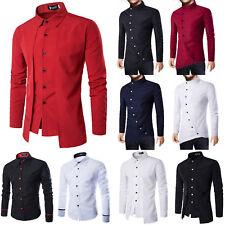 Men Long Sleeve Business Dress Shirt Blouse Basic Button-Down T-shirt Slim Fit