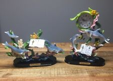 Montefiori Collection Set Dolphins Clock Moving Pendulum & Figurine Guc Read All