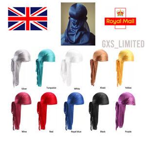 Unisex Men Womens Bandana Doo Durag Headwear Long Tail Soft Silk Pirate Cap Wrap