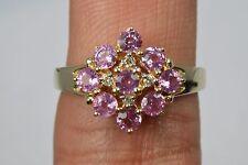 Women's 1.0 ct Rare Pink Sapphire & Diamond Cluster Ring 14k Yellow Gold Round