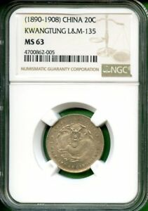 CHINA 1890-1908  KWANGTUNG  LM 135  NGC MS63   20 CENTS  SILVER