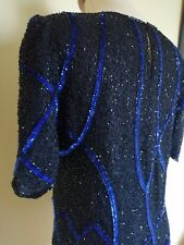 Vintage Sequin top. Beautiful Black and Blue sequins in excel cond. SZ. Small