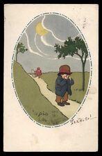 CART.D'EPOCA-illustratore C.GIRIS-BAMBINI,LUNA,NOTTE 6
