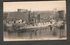 France unmailed post card Brest Le Chateau castle and cruiser ship Guichen