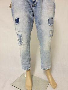 Antony Morato Men's Shaggy Loose Denim Cropped Jeans Blue Size UK 32 IT 48