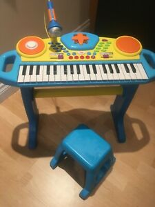 Mini Battery Organ Piano Microphone Stool 32 Key Keyboard Kids Toy