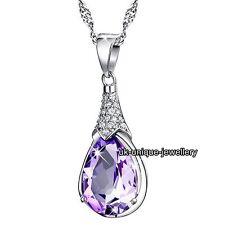 Amatista Púrpura Collar Con Cristal Colgante De Plata - Para Ella Novia De Mujer