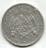 Uruguay 1 Pesos  1877 A  Plata @ Brella @