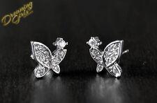 Cute Little Girly 18k White Gold Plated AAA Zircon Butterfly Stud Earrings