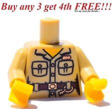 ☀️NEW Lego Torso Tan Safari Shirt Pockets, Belt, Key Ring and ZOO Keeper Pattern