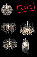 MODERN CEILING PENDANT LIGHT LAMP SHADE CHANDELIER SHADES ACRYLIC CRYSTAL DROP