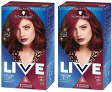 2 X Schwarzkopf LIVE Colour + Lift L75 Deep Red