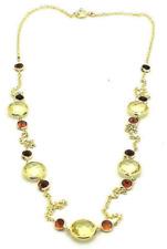 14K Oro Amarillo Forma Redonda Limón Topacio y Gemas Granate Collar 45.7cm