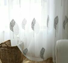 Embroidered Tulle Curtain Living Room Bedroom Kitchen Sheer Window Drapes Fabric