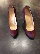 "Christian Louboutin burgundy suede 5.5"" heel size 35"