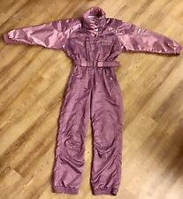 Vintage KAELIN Solar SKI SUIT Apres Snow Bib Snowsuit Iridescent Mauve WOMENS 8