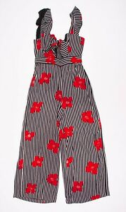 Madewell Plumeria Cutout Floral Striped Jumpsuit Size 2