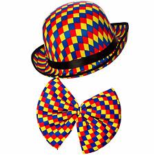 Adult Clown Bowler Hat & Bowtie Fancy Dress Set Circus Costume Bow Accessory Kit